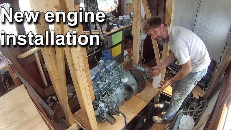 New engine installation Wooden boat restoration Boat Refit Travels With Geordie 81