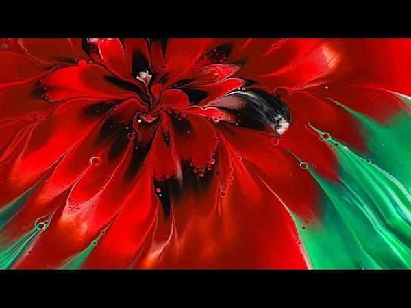 (222) Dip technique _ Lift Rotate _ Red flower _ Fluid Acrylic Pouring _ Designer Gemma77