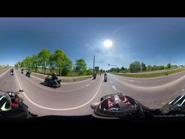 Проезд в колонне на открытии мото сезона 2019 г. Великий Новгород, просмотр в формате 360
