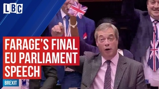 Nigel Farage's dramatic final speech at the European Parliament ahead of the Brexit vote
