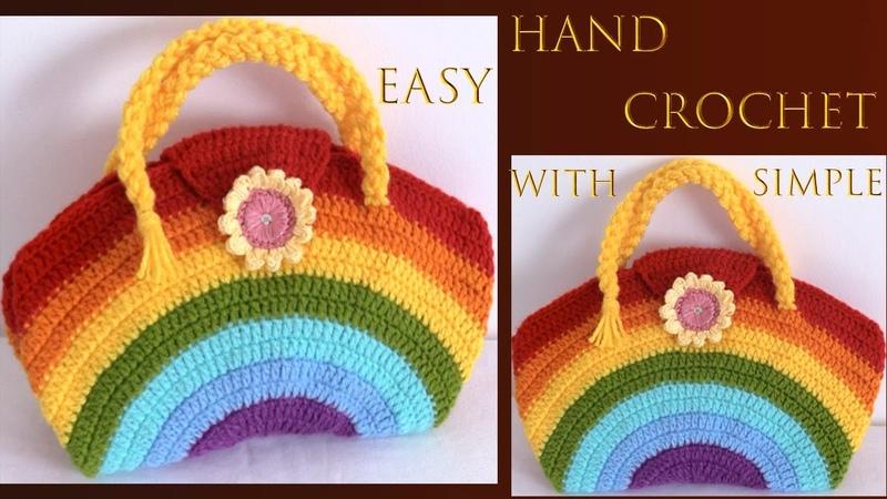 Bolso a Crochet punto arcoíris con flor 3D y asas de trenzas tejido a ganchillo muy fácil tallerma