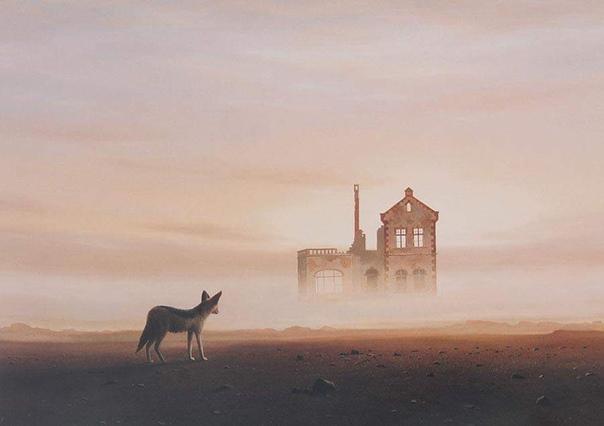 Кейт Александр (1946-1998), южноафриканский художник. Эти картины - не фантазии. Александр писал рукотворные объекты, разлагающиеся в морях песка, будь то старый автомобиль, локомотив или
