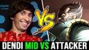 DENDI 7 24 Favourite Hero Queen of Pain Mid vs Attacker the Best Kunkka Dota 2