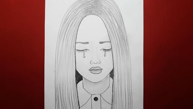 Adım Adım Üzgün Kadın Çizimi / Yeni Başlayanlar için Ağlayan Kadın Çizimi