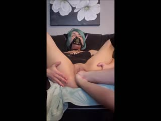 Vixenxmoon - gagged kitty gets doubled fisted  gaped