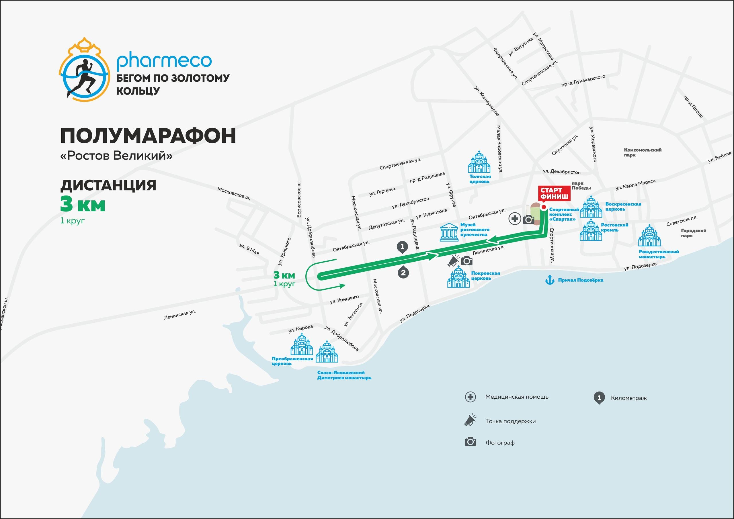 З км. Полумарафон Ростов Великий 2019