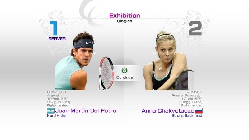 Virtua Tennis 4 Sega Juan Martín del Potro vs Anna Chakvetadze Rafael Nadal Roger Federer