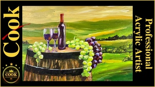 Tuscany Wine Country  A how to Acrylic painting  step by step  plus Quarantine Quickie #28