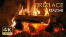 4K Realtime Fireplace Relaxing Fire Burning Video 3 Hours No Loop Ultra HD 2160p