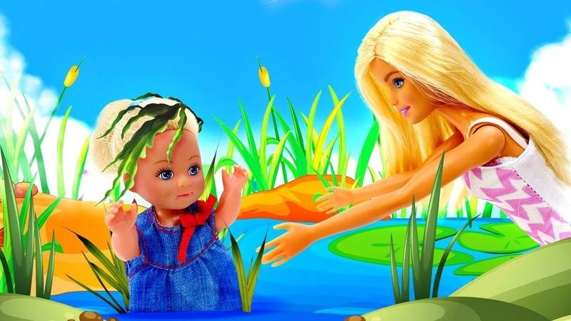 Мультик Барби Штеффи упала в пруд Пикник с ночёвкой Видео для девочек