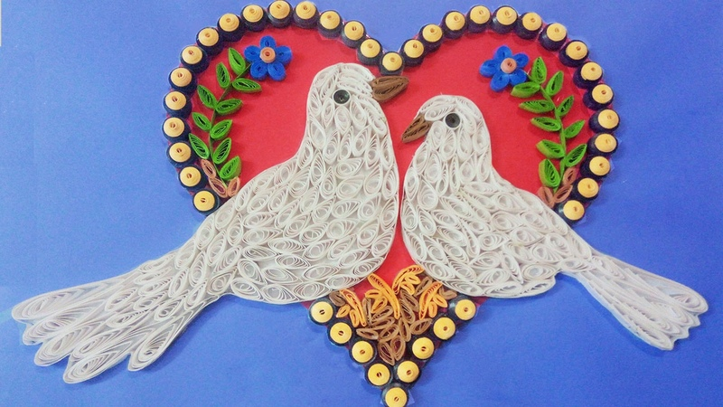 Making Beautiful Love Birds 💘 ⭐ Paper Quilling Art ⭐