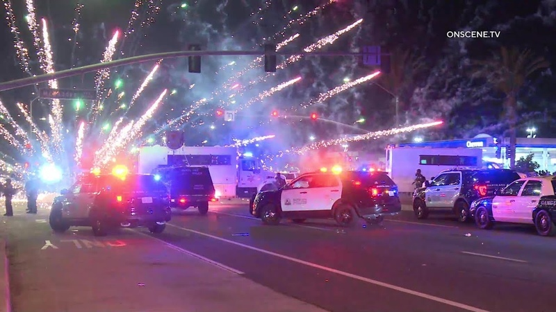 Rioters Pelt Officers With Fireworks Other Debris In Santa Ana Caught On Camera