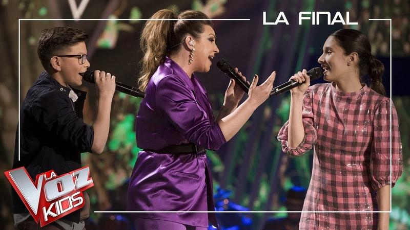 Niña Pastori y los talents de David Bisbal cantan 'La mudanza' Final La Voz Kids Antena 3 2019