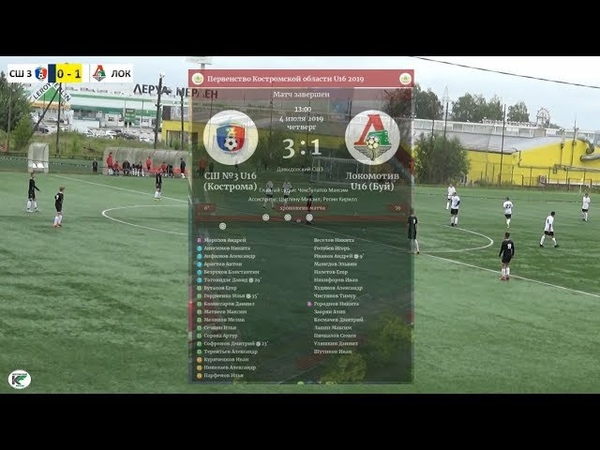 СШ №3 (Кострома) - Локомотив (Буй) 3:1 Первенство Костромской области U16 (04.07.19)