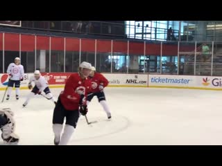 Holtby and siegenthaler are on the ice this morning