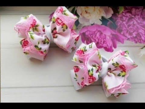 Бантики из репса и кружева 2 5 см. МК Канзаши Bows of reps and lace 2.5 cm.