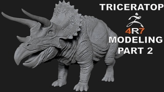 MODELING TRICERATOPS DINOSAUR TUTORIAL IN ZBRUSH 4R7 - PART 2