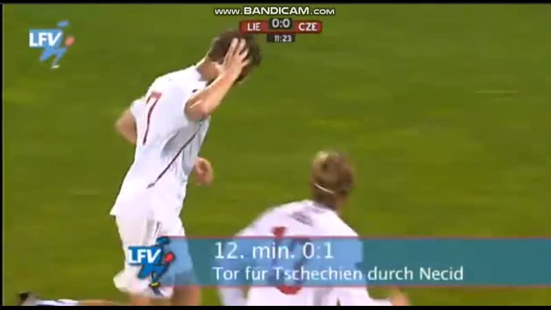 Лихтенштейн-Чехия-0-2 голы Томаша Нецида и Вацлава Кадлеца ОЧЕ-2010\11