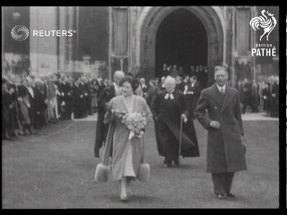 Royal Family visits King's College Cambridge (1951)