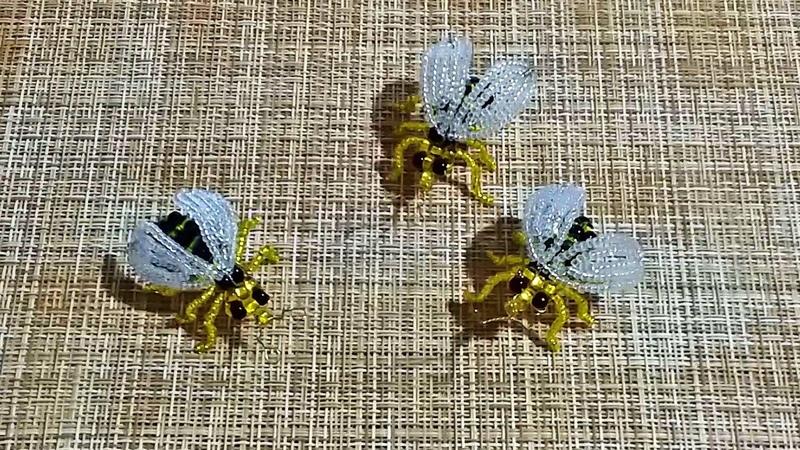 Работа из бисера. Пчела из бисера . Часть 1. Пошаговый МК.Bee from beads DIY.