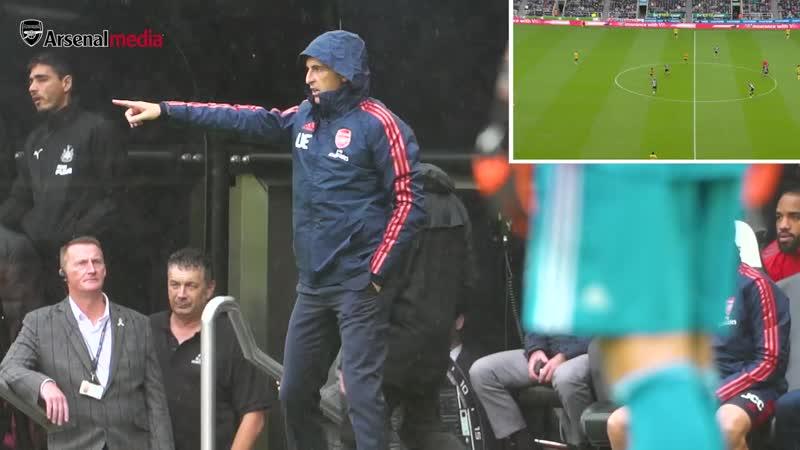 ARSENAL BENCH CAM - Newcastle Utd 0 - 1 Arsenal - Unai Emery, Pepe, Ceballos