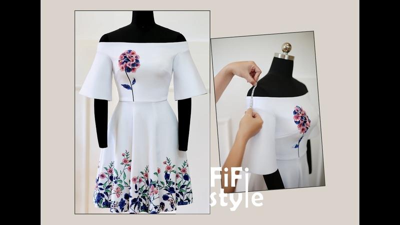 FiFi Style Thiết kế đầm bẹt vai tay Loa Kèn xử lý đầu pen bị nhọn