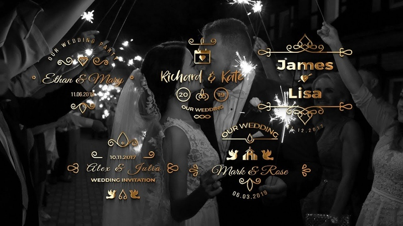 Animated Gold Wedding Titles for Premiere Pro || Premiere Pro Motion Graphic Template ||