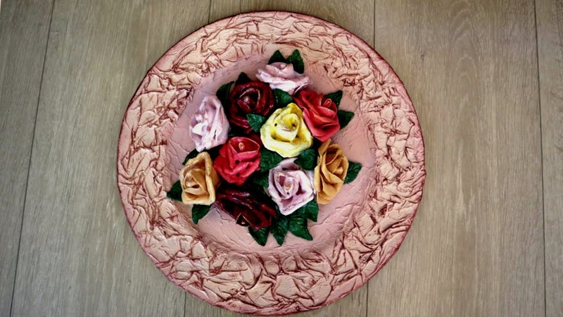 DIY from a plastic plate with plaster flowers   How to make artificial flowers with plaster