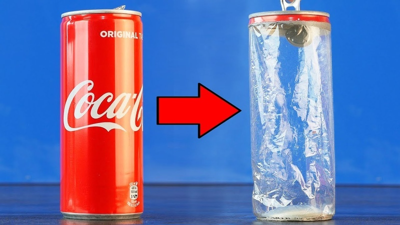 Coca Cola and Drain Cleaner - The secret of the aluminum can, Amazing Experiment