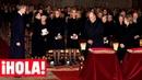 El reencuentro de los Reyes, don Juan Carlos, doña Sofía y las Infantas, en el funeral de doña Pilar