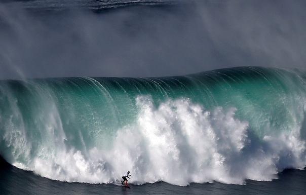 Серфер покоряет гигантскую волну в Назаре, Португалия.