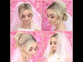 Схема крепления фаты на распущенные волосы