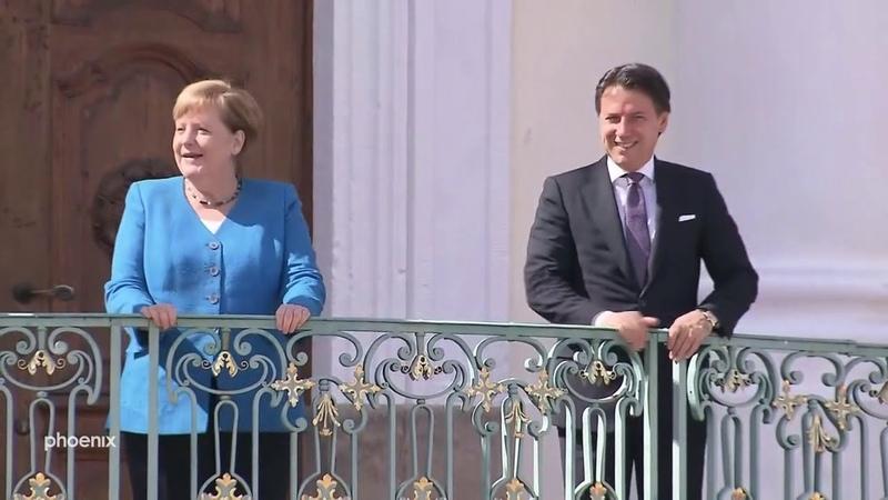 Pressekonferenz mit Angela Merkel Giuseppe Conte Premier Italien