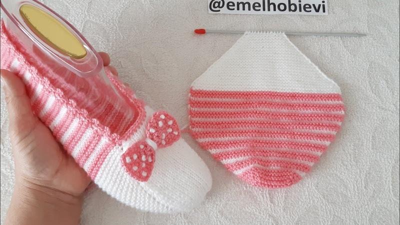 Bu Sefer Patiğe Topuktan Başlayalım Very Easy Knitting Slippers İki Şişle Dikişsiz Kolay Patik