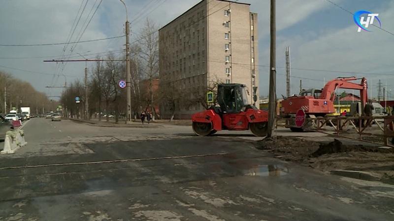 В Великом Новгороде начался ремонт переезда через железнодорожные пути на Большой Санкт Петербургской