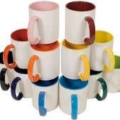 Кружка белая с нанесением цветная внутри и ручка