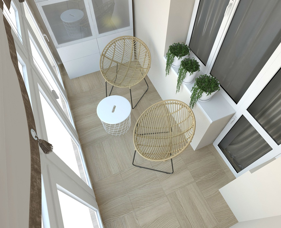 Визуализация интерьера квартиры 34 м со стеклянной перегородкой между кухней и гостиной.