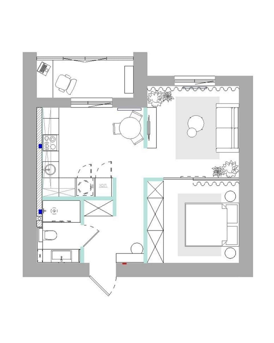 Концепт квартиры 40 кв.