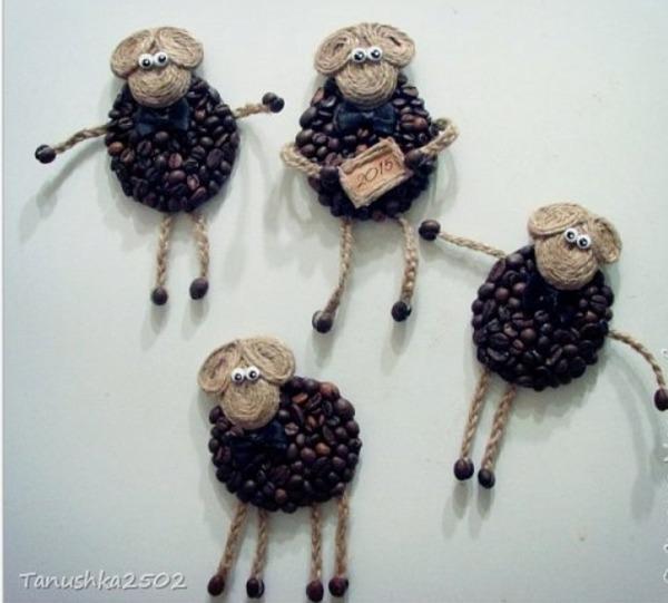 как сделать овечку из веревки своими руками, как сделать барашка их кофейных зерен своими руками,