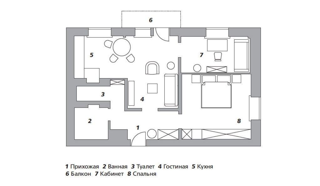 Квартира с богемной обстановкой, 63 м² от Марины Козловой