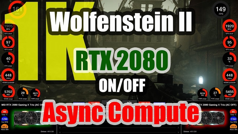 Wolfenstein II The New Colossus 1K GeForce RTX 2080 Async Compute ON OFF
