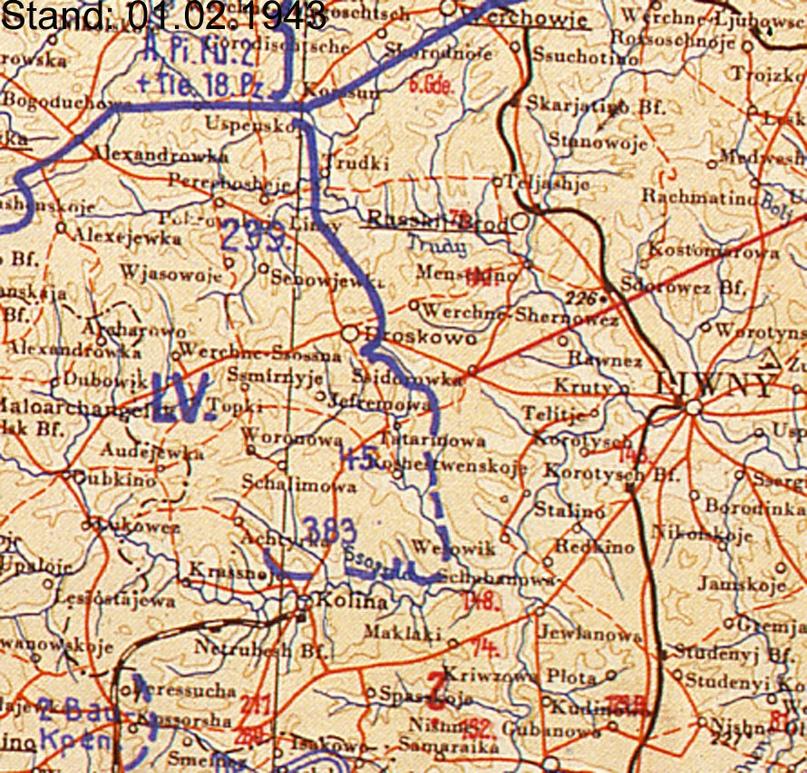 Фрагмент немецкой карты. Обратите внимание на прерывистую синюю линию и пустое пространство внизу карты. Правый фланг немецкого 55-го корпуса «повис в воздухе», лишившись соседа справа.