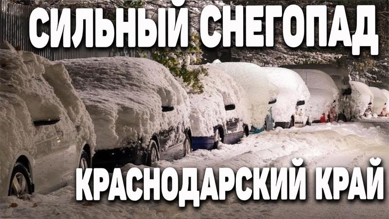 Сильные снегопады в Краснодарском крае Снежная буря метель Краснодар в снегу Катаклизмы ЧП