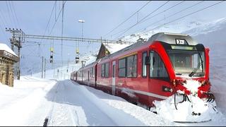 ★ 4K Cab ride St. Moritz - Tirano, fresh snow, strong winds & snowdrifts