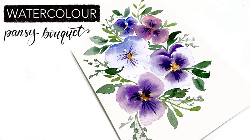 How To Paint A Watercolour Pansy Bouquet