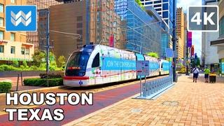 [4K] Downtown Houston in Texas, USA - Walking Tour & Travel Guide 🎧 Binaural City Sound