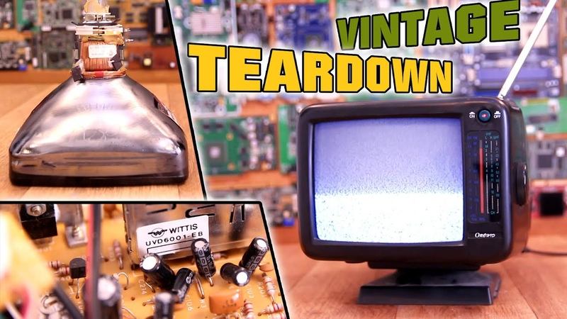 Vintage Teardown 2 Old Portable TV Cathode Ray Tube and Flyback