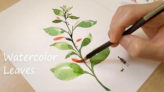 Simple Leaf Watercolor Painting